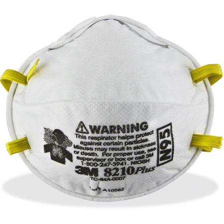 3M 8210PLUS N95 Particulate Respirator, White, 20 / Box - Biohazard Respirator Mask