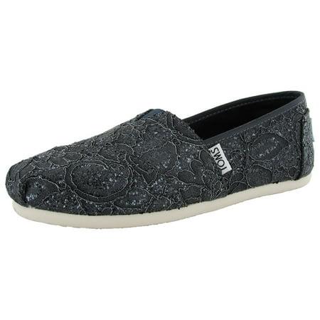 Toms Womens Slip On - Toms Womens Lace Glitz Slip On Alpargata Flat Shoe
