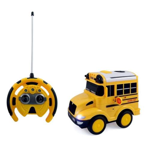 School Bus RC Toy Car for kids with Steering Wheel Remote, Lights and Sounds PS26A (Gift... by