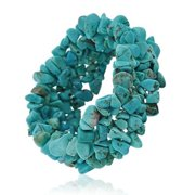 Bling Jewelry Simulated Turquoise Gemstone Chips Chunky Stretch Bracelet