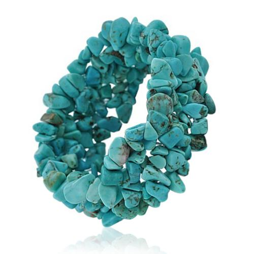 Bling Jewelry Simulated Turquoise Gemstone Chips Chunky Stretch Bracelet Ann Turquoise Bracelets