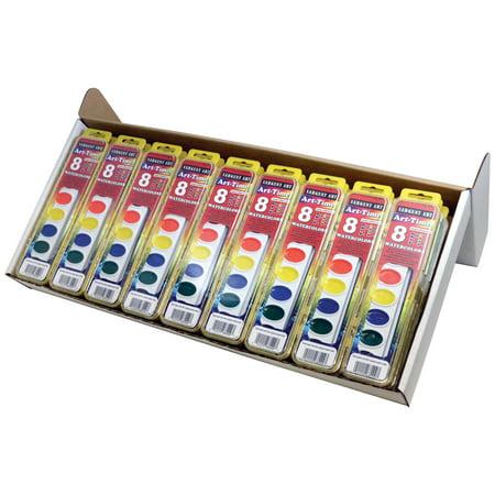Art-Time® Watercolor Paints,Classpack, 8 colors, 36 count