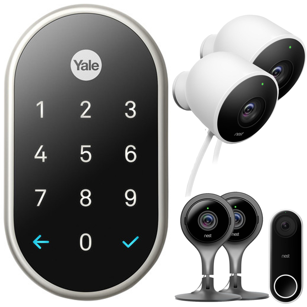 Nest x Yale Lock with Nest Connect - (Satin Nickel) with Security Bundle Includes, Hello Smart Wi-Fi Video Doorbell + 2x Cam Indoor, Black + 2x Outdoor Security Camera, White