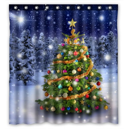 PHFZK Snow Tree Scenery Shower Curtain, Colorful Merry Christmas Tree with Holiday Presents Polyester Fabric Bathroom Shower Curtain 66x72 inches - Holiday Shower Curtain