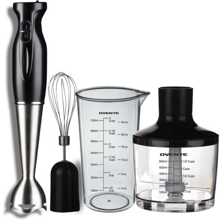 Ovente Hs585b Robust Stainless Steel Immersion Hand Blender With Beaker  Whisk Attachment And Food Chopper  Black