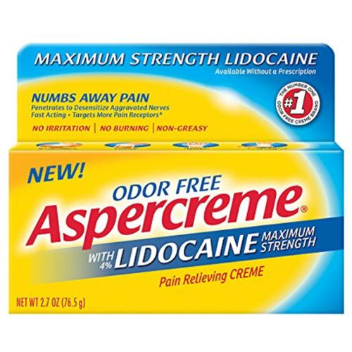 ASPERCREME Maximum Strength Lidocaine Pain Relieving Creme 2.7 oz (Pack of 6)