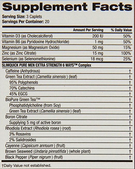 Slimquick Pure Men Extra Strength Weight Loss Dietary Supplement C ..., ,mass gainer with fat burner