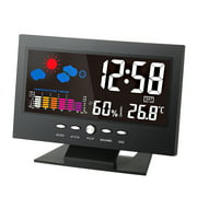 °C/°F Multifunctional Indoor Colorful LCD Digital Temperature Humidity Meter Weather Station Clock Thermometer Hygrometer Calendar Temperature Trend Alarm Comfort Level Weather Forecast Vioce-activate