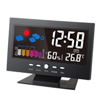 C/F Multifunctional Indoor Colorful LCD Digital Temperature Humidity Meter Weather Station Clock Thermometer Hygrometer Calendar Temperature Trend Alarm Comfort Level Weather Forecast Vioce-activate