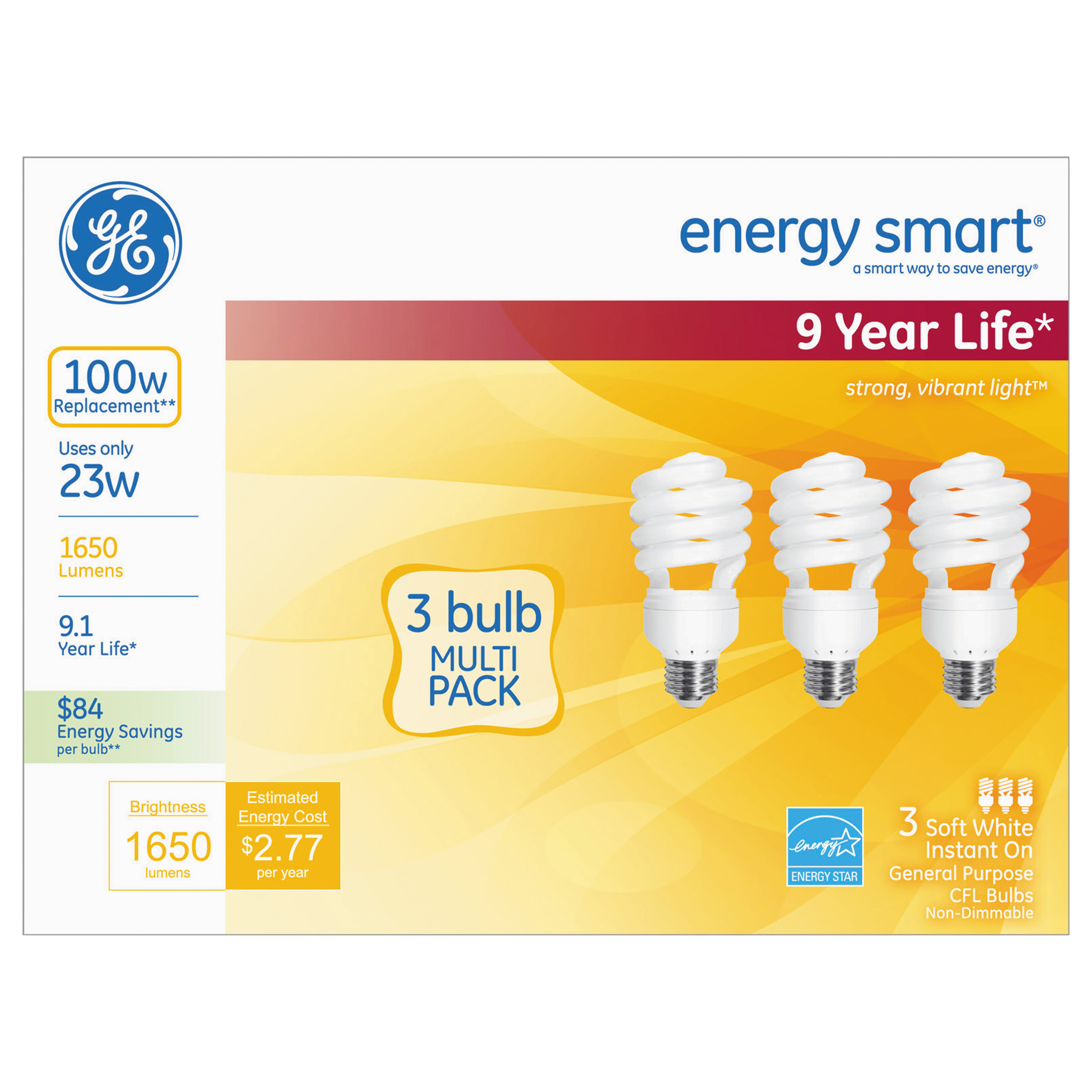 GE Energy Smart Compact Fluorescent Light Bulb, 1650 lm, ...