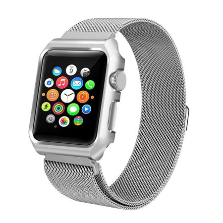 100% authentic deea4 9059f For Apple Watch Band with Case 44mm, Stainless Steel Mesh Milanese Loop  with Adjustable Magnetic Clasp Wristband iWatch Band for Apple Watch Series  4 ...