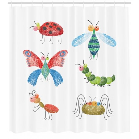 Shower Pencils - Animals Shower Curtain, Hand Drawn Bugs with Pencil Marks Ladybug Caterpillar and Butterfly Composition, Fabric Bathroom Set with Hooks, 69W X 75L Inches Long, Multicolor, by Ambesonne