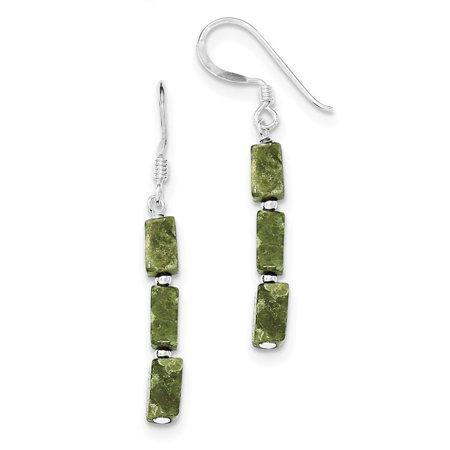 Sterling Silver Green Russian Serpentine Stone Shepherd Hook Earrings 4mm x 42mm
