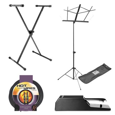 On Stage Classic Single-X Keyboard Stand + Alesis ASP-2 Universal Piano-Style Sustain Pedal + On Stage Compact Sheet Music Stand, Black with Bag + On Stage Instrument Cable, 10 ft.