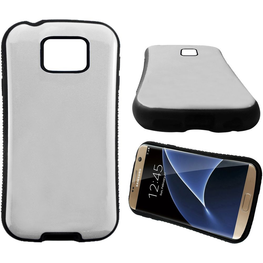 Insten Hard Dual Layer Rubber Coated Silicone Cover Case For Samsung Galaxy S7 Edge - White/Black - image 1 de 1