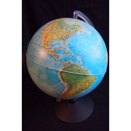 Canvas Print America Map of The World Hemisphere Globe World Stretched Canvas 10 x 14 ()