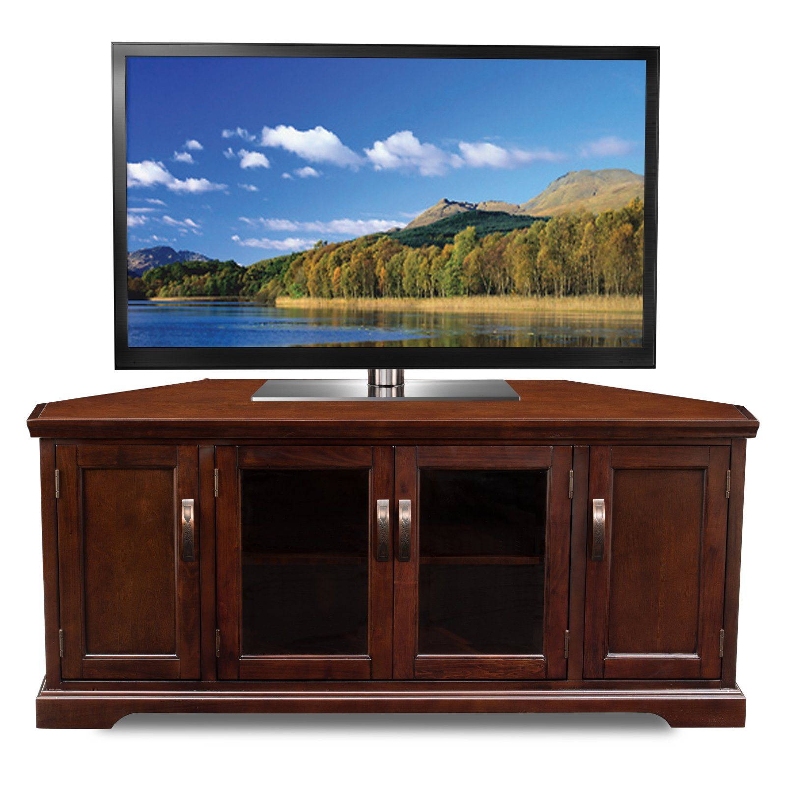 """Leick Home Chocolate Cherry and Bronze Glass 56"""" Corner TV Stand for TV's up to 60"""""""