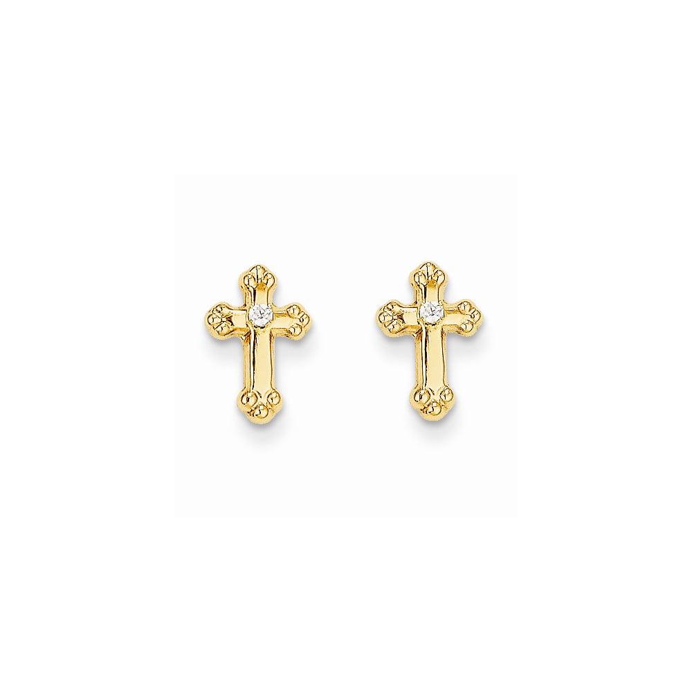 14k Yellow Gold Childs Cross CZ Post Earrings w/ Gift Box (10MM Long x 8MM Wide)