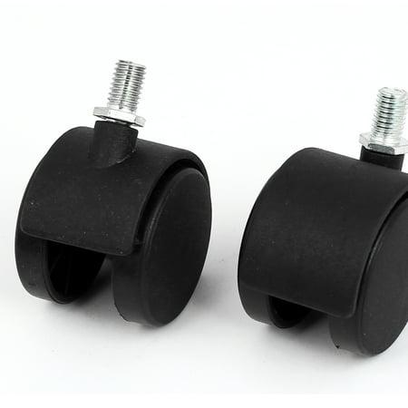 "10mm Threaded Stem 2"" Dia 360 Degree Rotatable Dual Wheel Swivel Caster 10pcs - image 1 de 2"