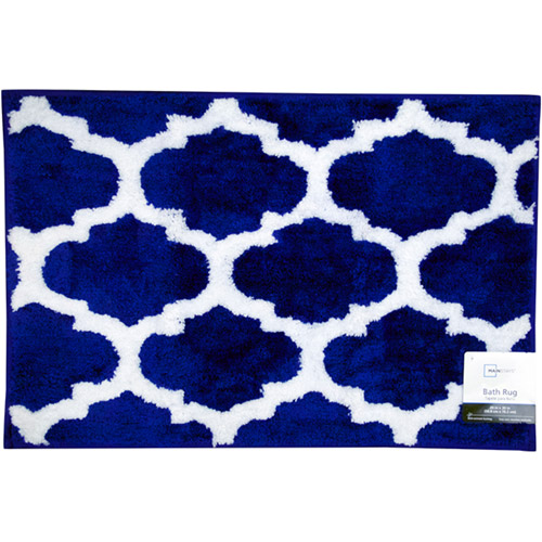 Mainstays Fretwork Bath Rug, Navy White by Jay Franco