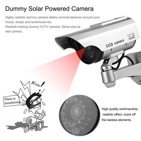 Dummy Solar Powered Camera High Simulation Cctv Fake Camera Flashing Led Red Light Home Security Battery Camera Monitor