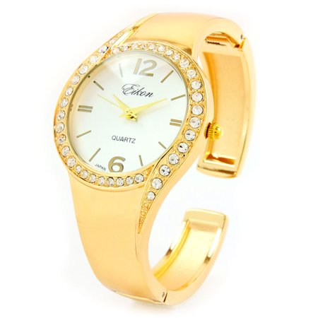 Gold Tone Metal Band Crystal Bezel Luxury Women's Bangle Cuff Watch.