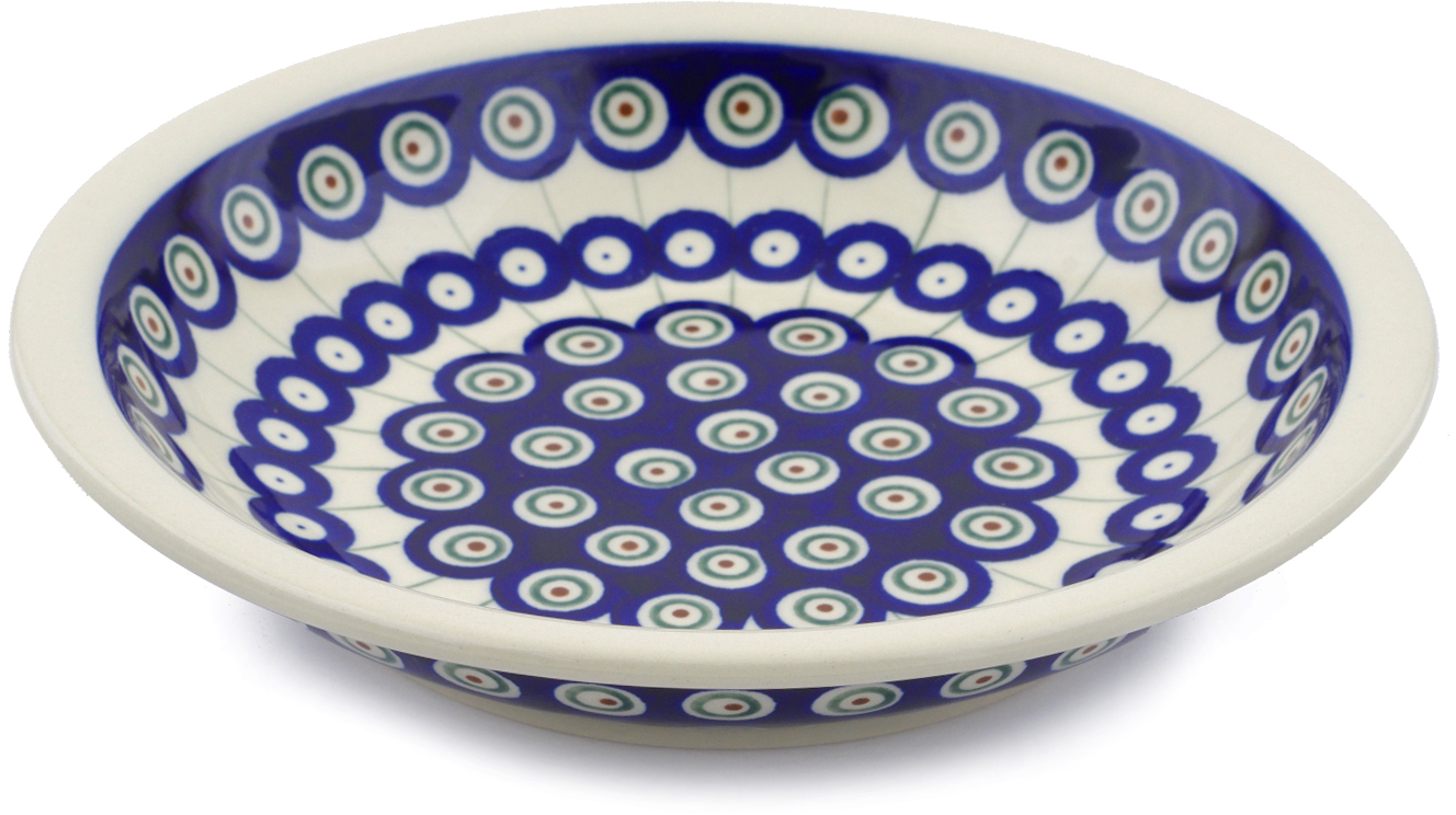 Polish Pottery 9-inch Pasta Bowl (Traditional Peacock Theme) Hand Painted in Boleslawiec, Poland + Certificate... by Zaklady Ceramiczne