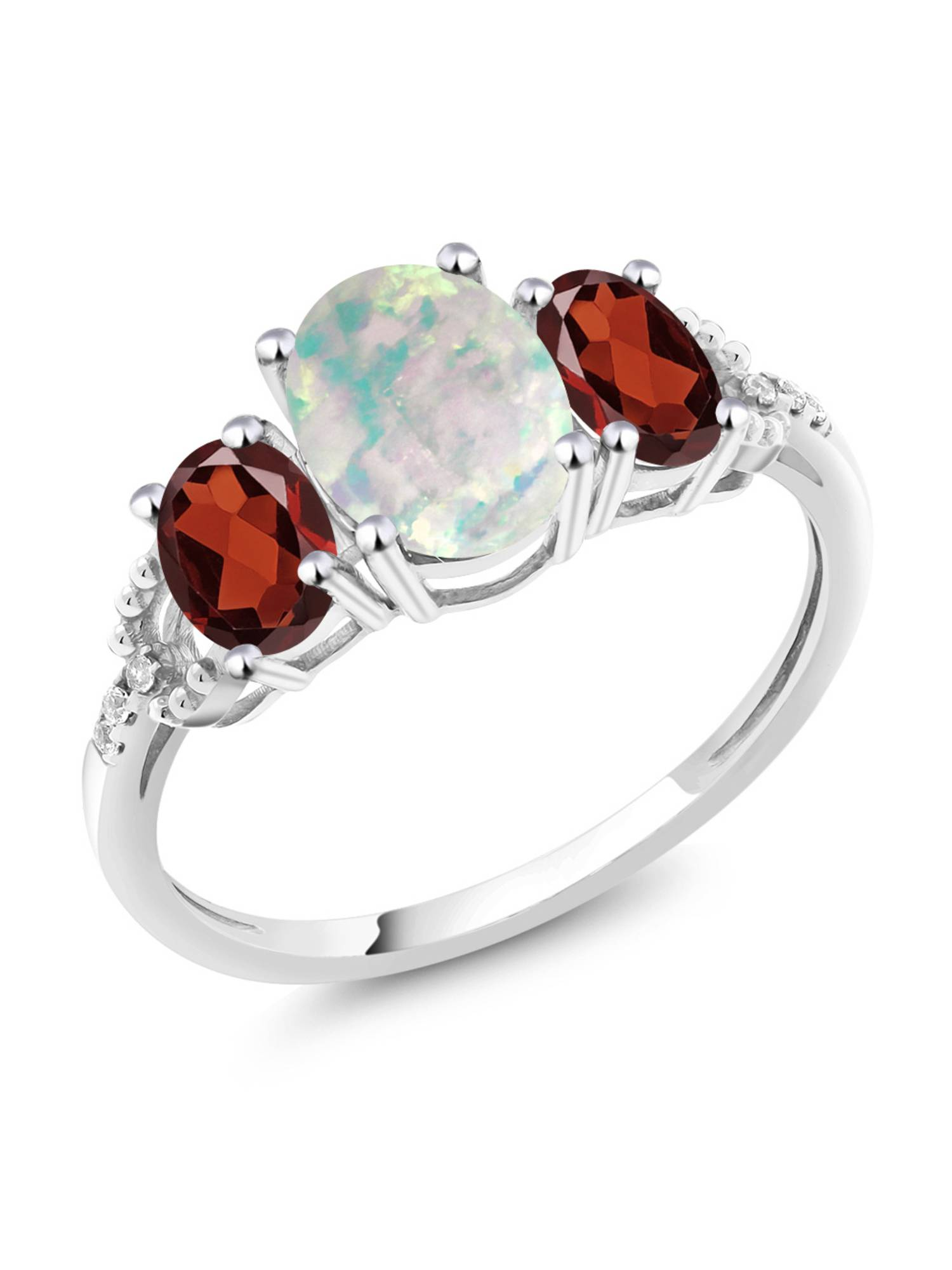 10K White Gold Diamond Accent Three-Stone Engagement Ring set with 2.10 Ct Cabochon White Simulated Opal & Red Garnet by