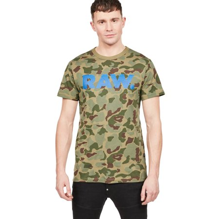 G-Star Raw Men's Graphic 52 Logo Camo Short Sleeve (G Star Raw T Shirts In India)