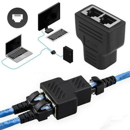 Lan Jack (RJ45 Splitter, RJ45 Network Connector Adapter with Shield 1 to 2 Port Ethernet Interent LAN Coupler Dual Socket HUB Plug Jack Female Interface, 1/3 Pack)