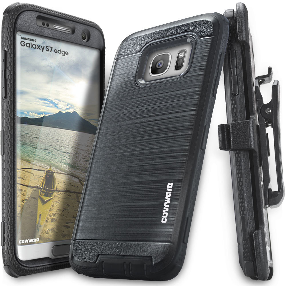 Samsung Galaxy S7 Edge Case, COVRWARE [IRON TANK] Heavy Duty Full-Body Holster Armor [Brushed Metal Texture] Case [Belt Clip][Kickstand], Black