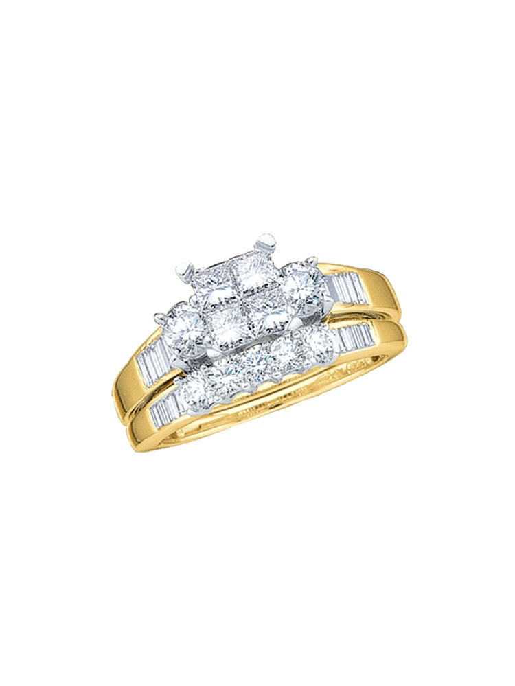 14k Yellow Gold Princess Natural Diamond Womens Wedding Bridal Ring Set (1.00 cttw.) size- 7.5 by