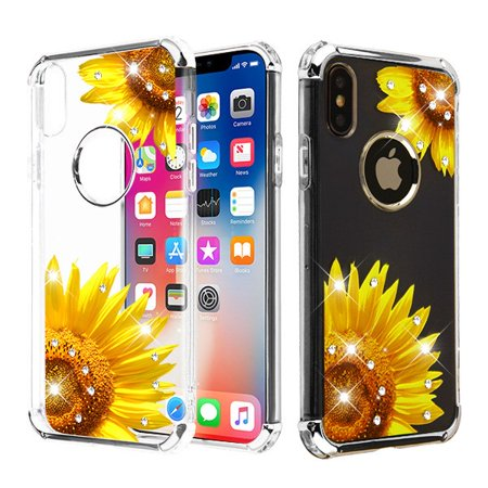 reputable site 361bd ed19a Apple iPhone XS / iPhone X (5.8 in) Phone Case Tuff Hybrid Shockproof  Impact Rubber Dual Layer Hard Soft Protective Hard Case Cover Transparent  ...