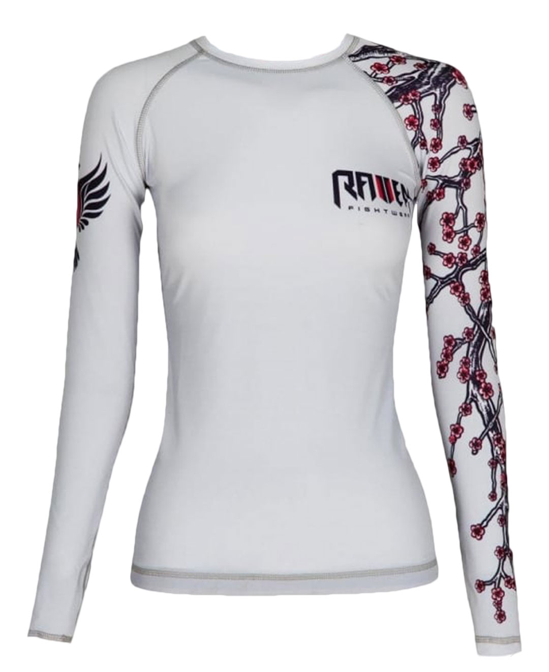 Raven Fightwear Women's Sakura Rash Guard MMA BJJ White by Raven Fightwear