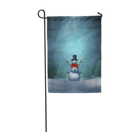 LADDKE Magical Snowman Winter Holiday As Merry Christmas and Happy New Garden Flag Decorative Flag House Banner 12x18 - Magical Snowman