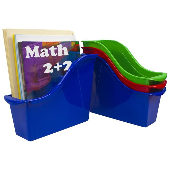 Storex Small Book Bin, Assorted Colors, Set of 5