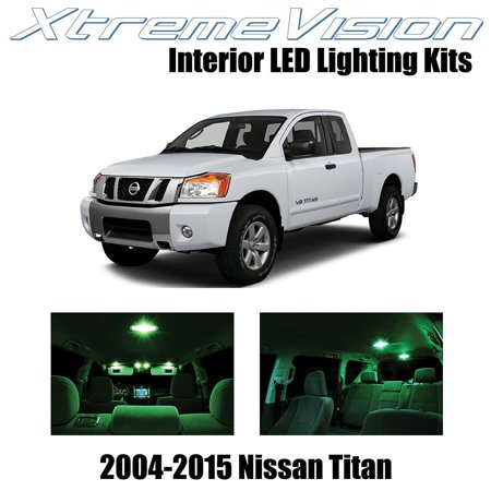 XtremeVision LED for Nissan Titan 2004-2015 (16 Pieces) Green Premium Interior LED Kit Package + Installation Tool