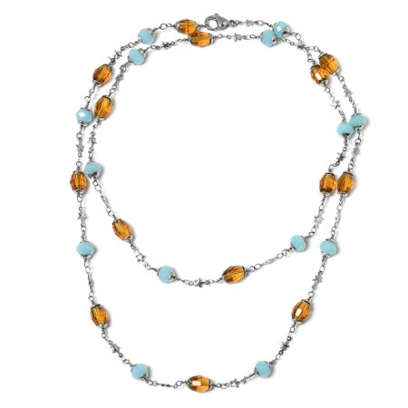 Stainless Steel Beads Blue & Brown Glass Station Strand Necklace for Women Jewelry Gift 36""