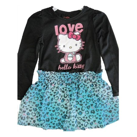 Hello Kitty Little Girls Black Blue Leopard Spot Applique Dress - Hello Kitty Dress Adults