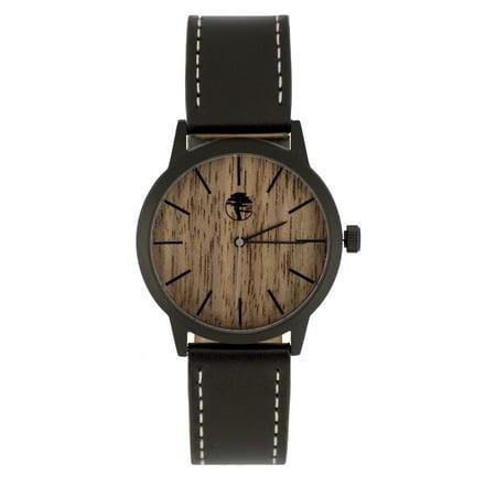 Wood Watch Walnut Wooden Face Waterproof Black Steel Case Black Genuine Leather Band Gift Box