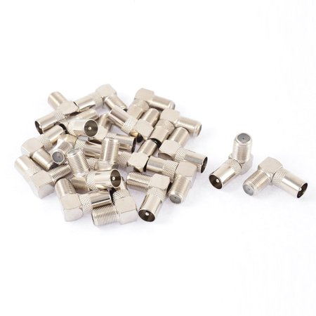 20pcs 90 Degree F Type Female to TV PAL Male Jack RF Coupler Coaxial Connector - image 1 of 1