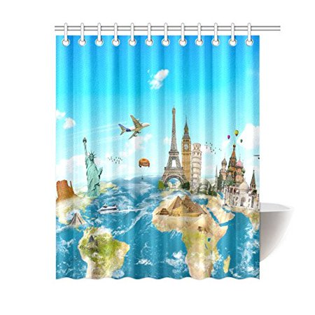GCKG World Map Shower Curtain, City Landmark World Travel Polyester Fabric  Shower Curtain Bathroom Sets 60x72 Inches | Walmart Canada