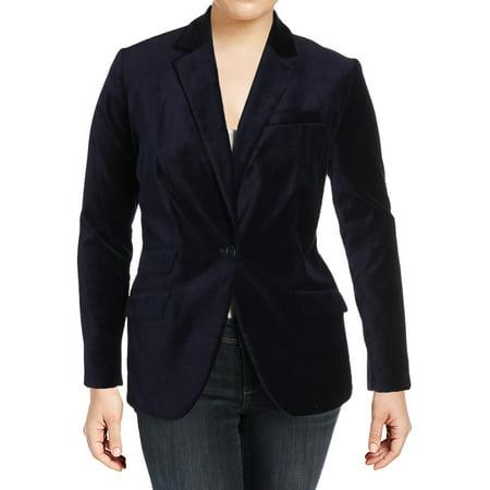Lauren Ralph Lauren Womens Plus Drosom Velvet Career Wear One-Button Blazer - Velvet Blazer