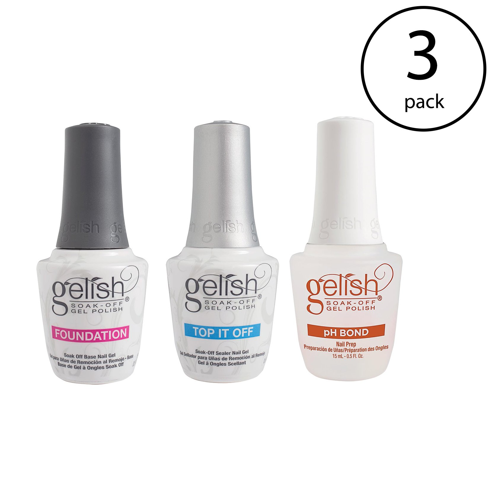 Gelish Terrific Trio Essentials Collection Soak Off Gel Nail Polish Kit,(3 Pack)