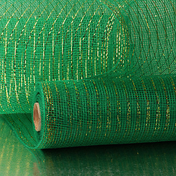 "10"" X 10 Yards Emerald Deco Mesh W/Metallic Stripes by Paper Mart"