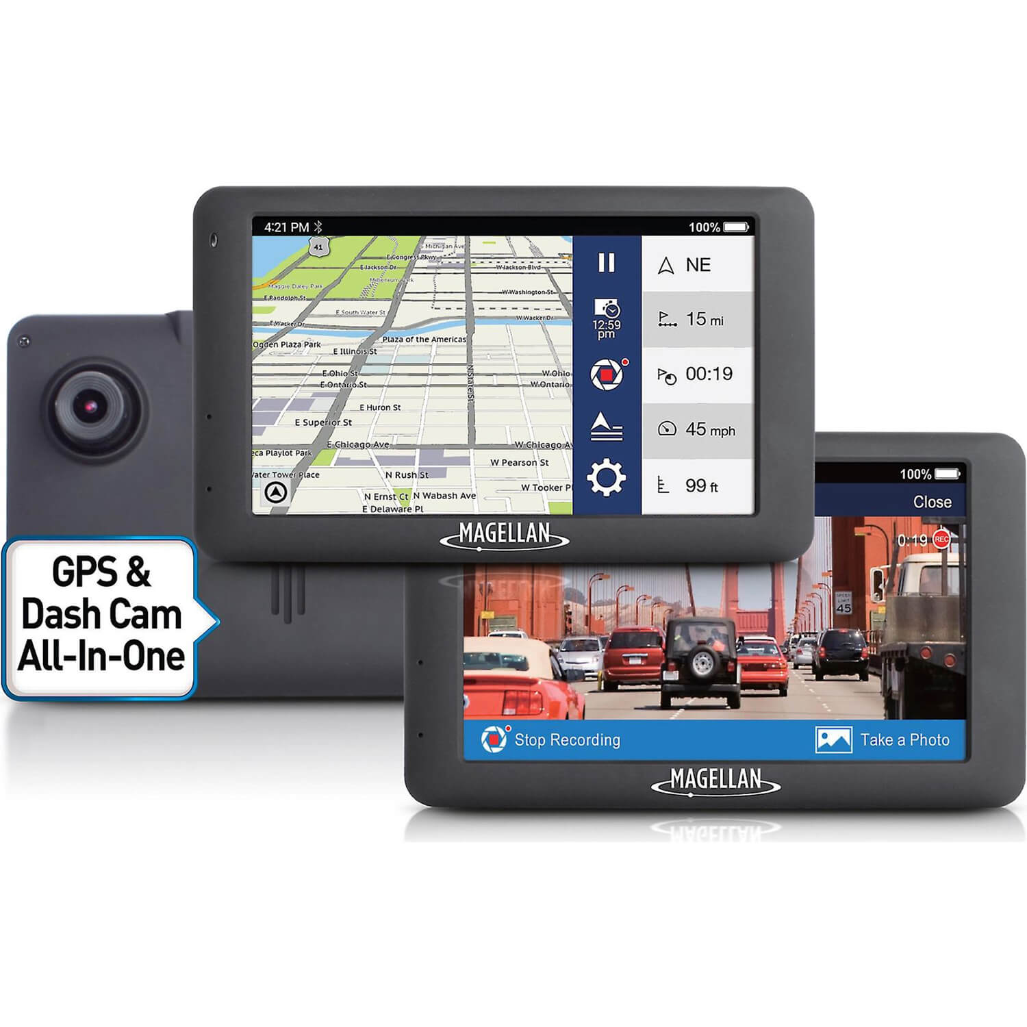 "Refurbished Magellan RoadMate 6630T-LM 5"" Touch Car GPS FHD Dash Cam w/ North American Maps"
