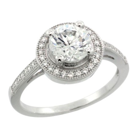 Sterling Silver Cubic Zirconia Micro Pave Round Crown Shape Center Stone Ring  Sizes 6 To 9