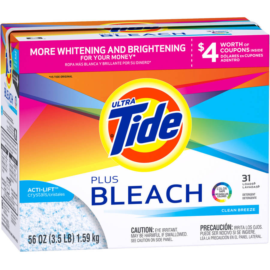Tide Ultra Vivid White Plus Bright Clean Breeze Scent Powder Laundry Detergent, 31 Loads, 56 oz