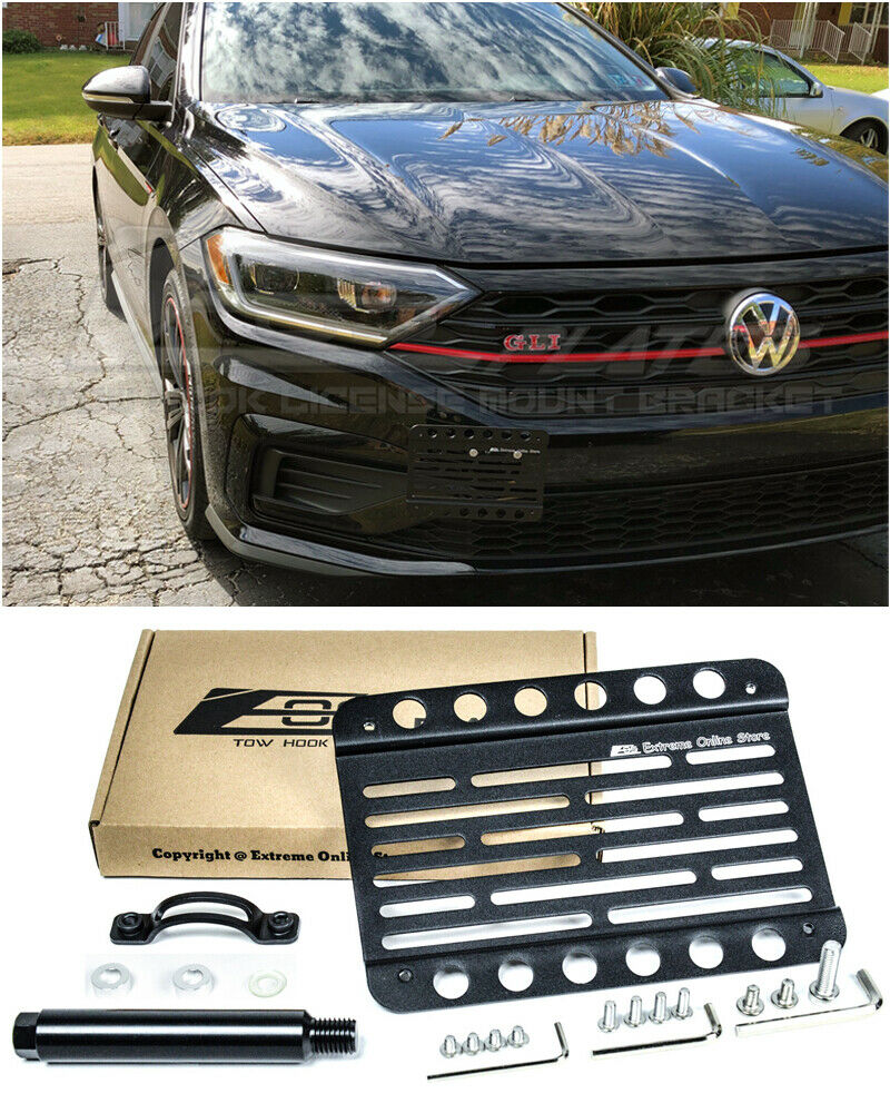 Version 1 Mid Sized Front Bumper Tow Hook License Plate Relocator Mount Bracket EOS Plate Tow-423 Extreme Online Store Replacement for 2016-Present Volkswagen Jetta GLI