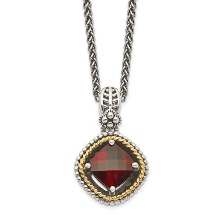 Roy Rose Jewelry Shey Couture Collection Sterling Silver with 14K Yellow Gold Garnet Necklace 18'' Length